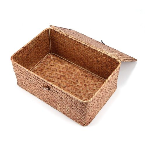 Woven Basket with Lid Rustic Storage Box