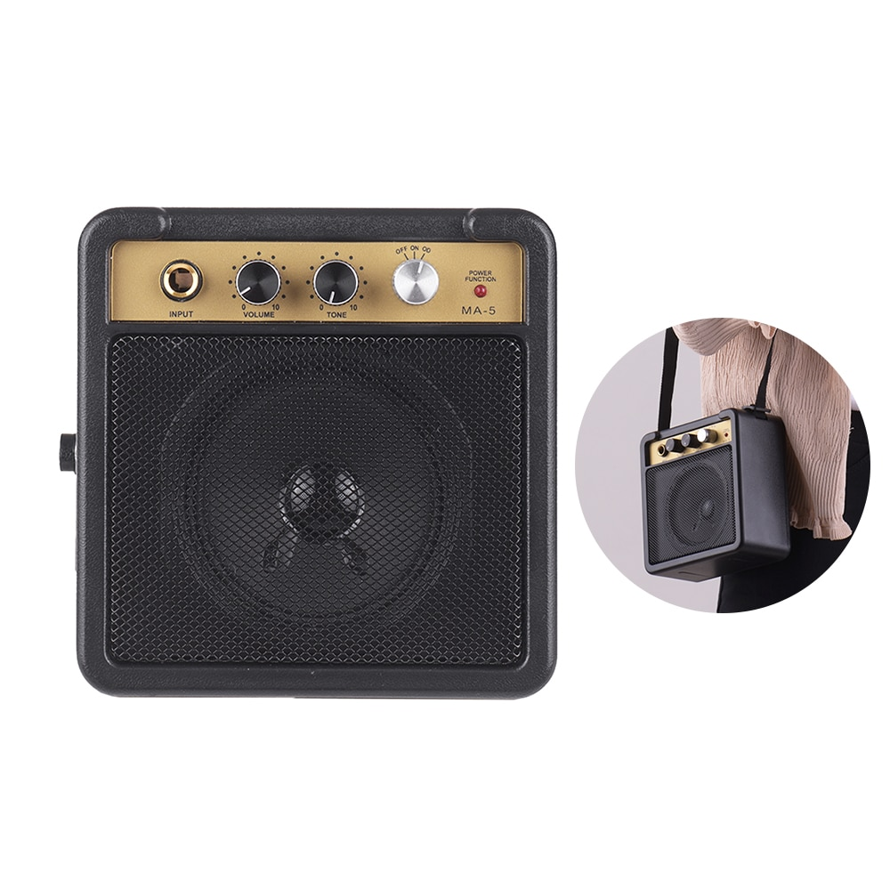 super deal Portable Mini Guitar Amplifier Amp Speaker 5W Supports Volume Tone Adjustment Overdrive black without power cord