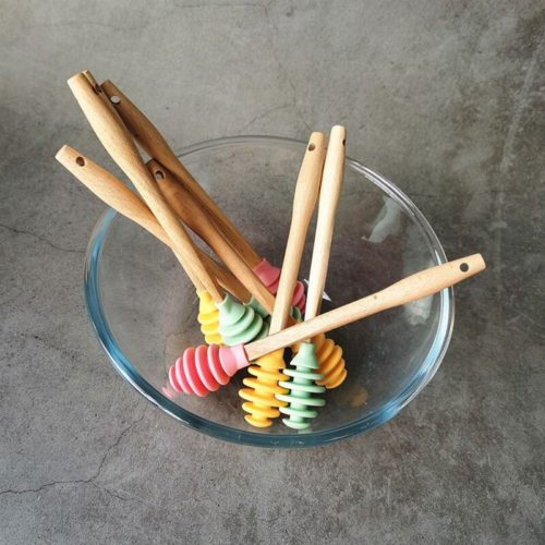 Honey Wood Stick Silicone Dipper