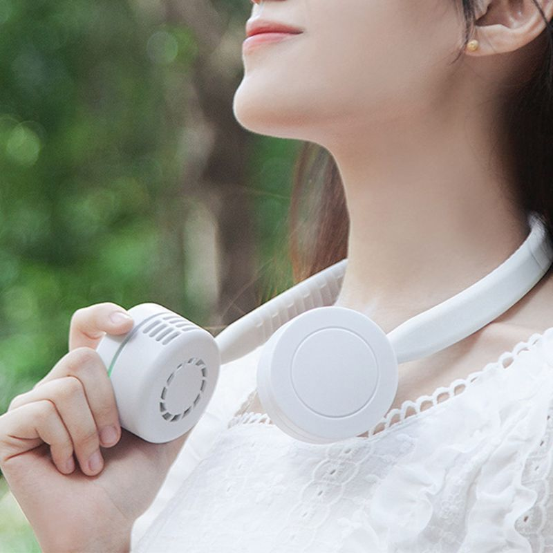 Portable Leafless Lazy Hanging Dual Cooling Neck Fan USB Charging Outdoor Sports Flexible Neckband Mini Air Cooler Conditioner