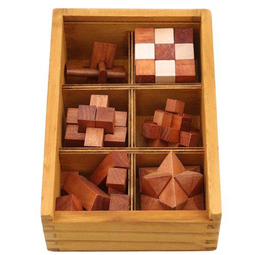 Wooden Brain Teaser Set (6 Pcs)