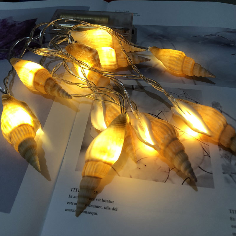 Mediterranean Style LED String Light Natural Sea Shell Conch Handmade Creative Diy String Lights battery Led Lights Room Decor
