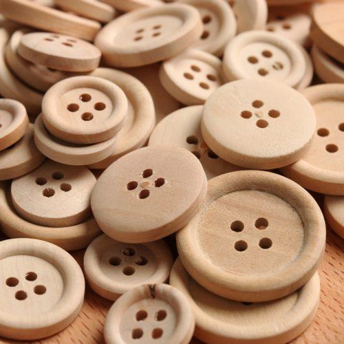 Wooden Buttons Sewing Supplies (50pcs)