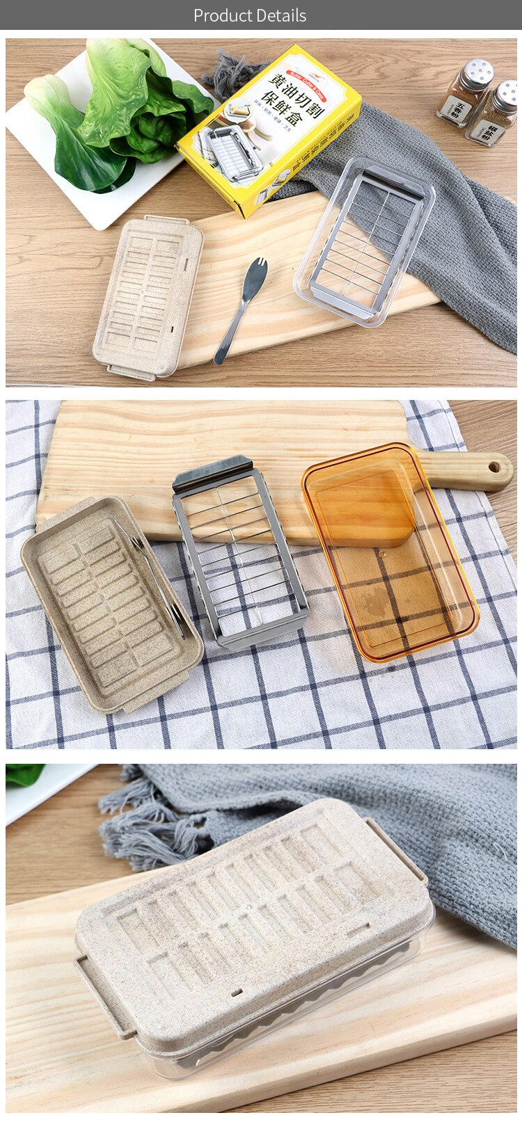 Stainless Butter Cutter & Case Kitchen Butter Box Cutting Food with Knife & Lid Container Sealing Storage Dish Cheese Keeper