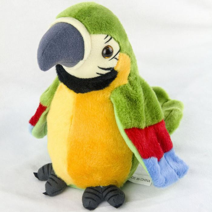 Hot Sale 26cm Speak Talking Record Cute Parrot Repeats Waving Wings Electric Plush Simulation Parrot Toy Macaw Toy Cute Kid Gift