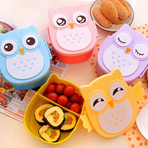 Pack your kid's lunch in this adorable owl lunch box. More so, this lunch box has the shape of a cartoon owl with a cute owl design.
