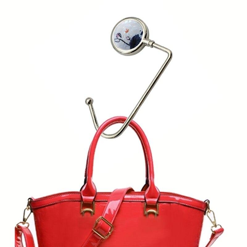 Hot Sales Metal Storage Hook Creative Handbag Hook Hanger Table Portable Bag Hook Hanger Anti-slip Handbag Purse Hanger