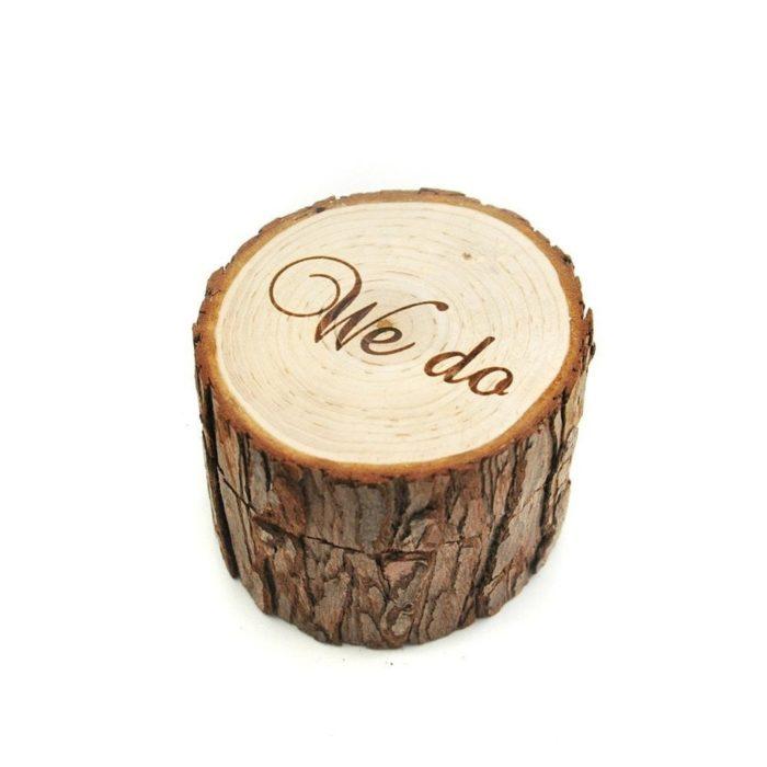 Wedding Ring Holder Rustic Wooden Design