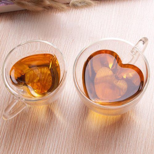 Heart Shaped Tea Cup Glass Mug