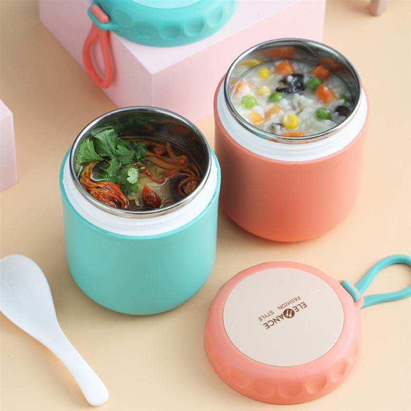 Stainless Steel Insulated Lunch Box Soup Holder Portable Food Container For Picnic School Office Hand-Held Soup Cup