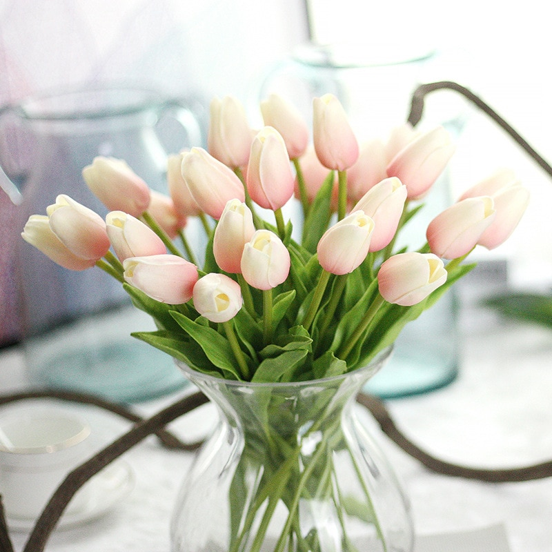 31Pcs/lot Tulips Artificial Flowers PU Calla Fake Flowers Real Touch Flowers for Wedding Decoration Home Party Decoration Favors