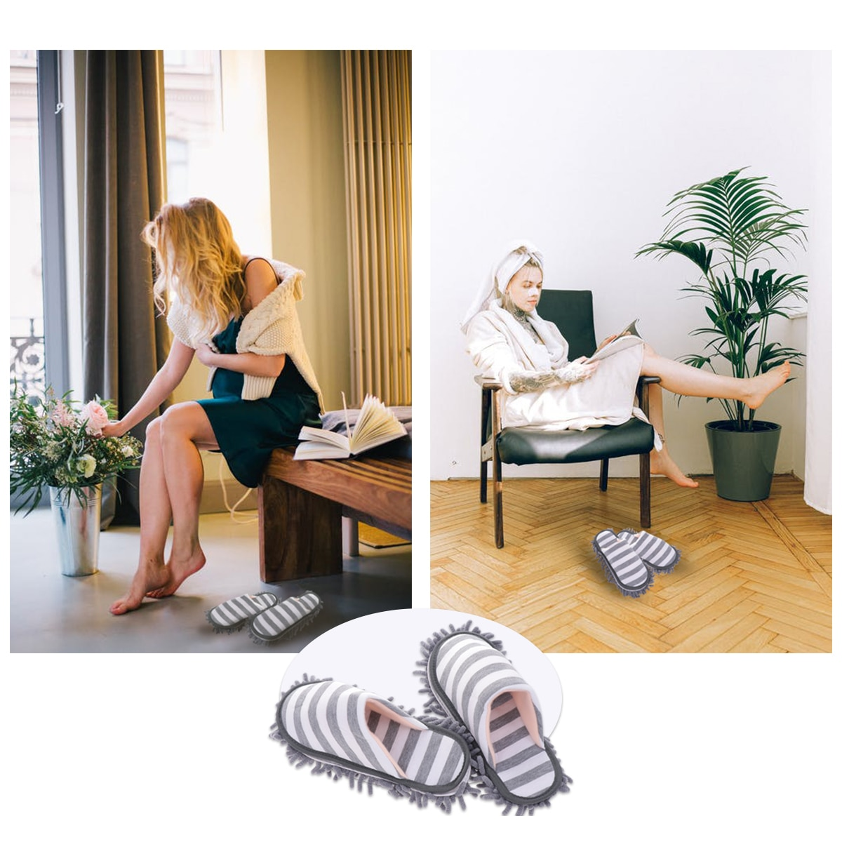 1 Pair Lazy mop slippers women Man unisex bathroom slippers for dry foot cleaning floor Slipper Drag Shoe Mop Household Tools