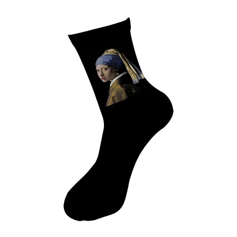 New happy Summer Fashion Unisex socks Men Art socks Famous painting Printed Socks Mona Lisa Retro Van Gogh women Socks 6S-ZWL01