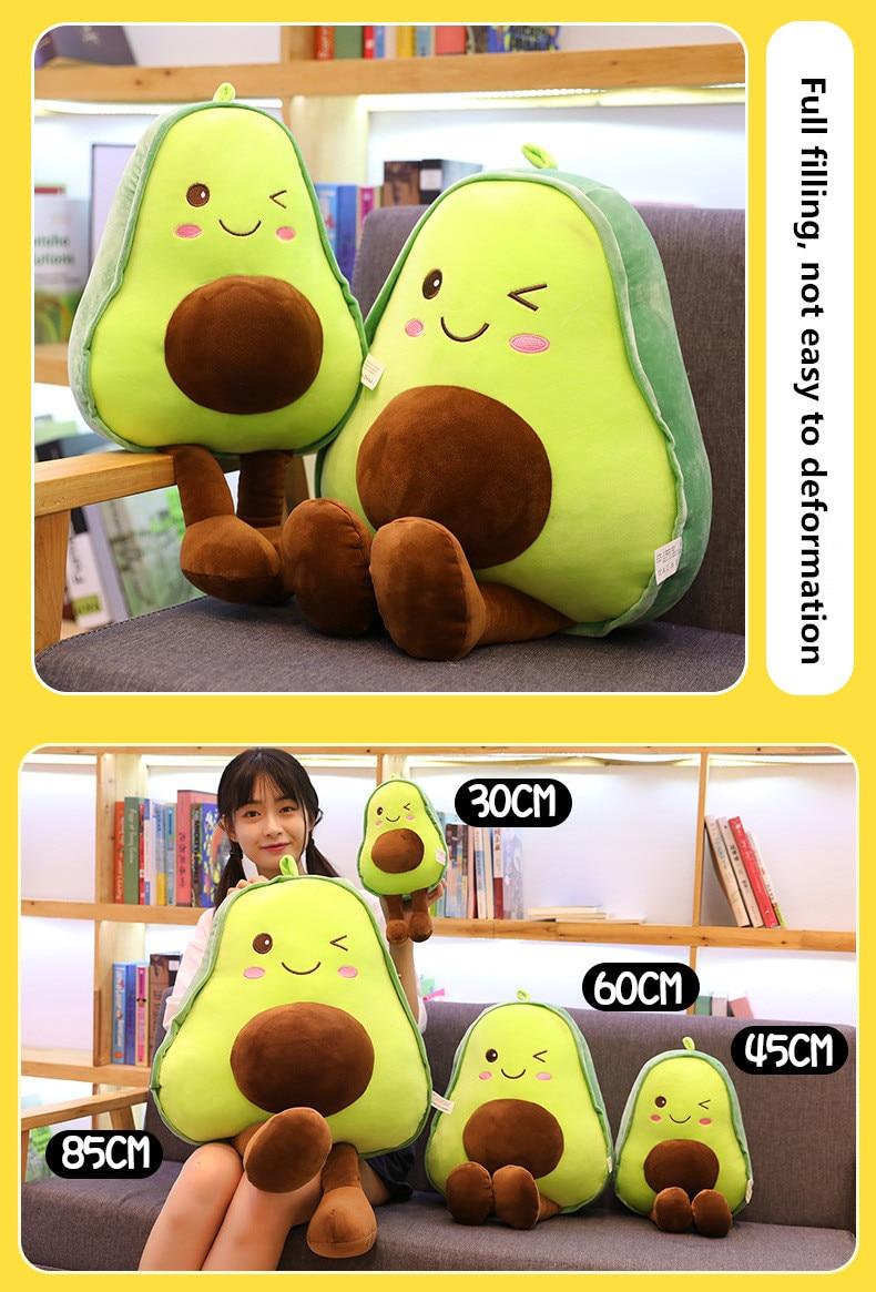 30-45-60-85CM Cute Avocado Stuffed Plush Toy Filled Doll Fruit Cushion Pillow Soft Plush Doll Toy Child Baby Girl Birthday Gift