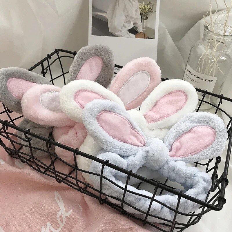 1Pcs Fashion Women Girls Rabbit Ears Hairband Elastic Headdress Hair Accessories Cotton Makeup Tools