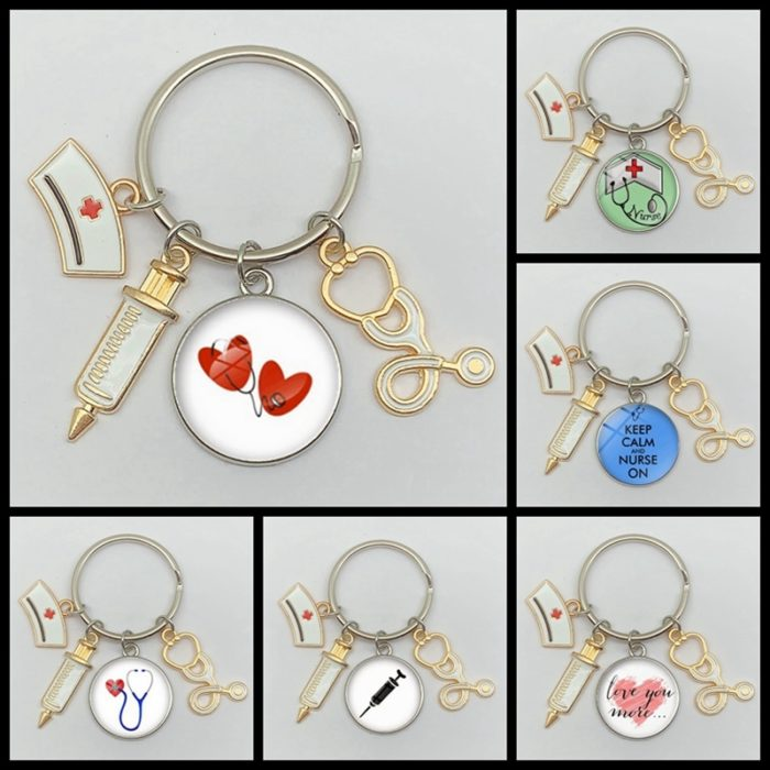 Nurse Keychain with Medical Icon Charms
