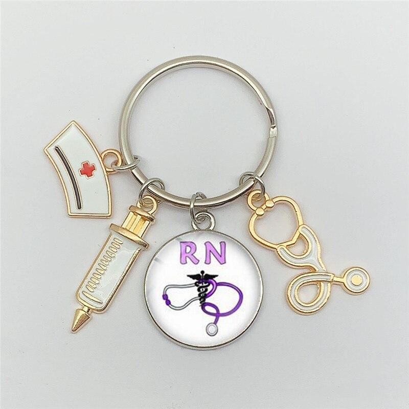 New fashion creative nurse medical syringe stethoscope image keychain glass cabochon and glass dome key ring pendant gift