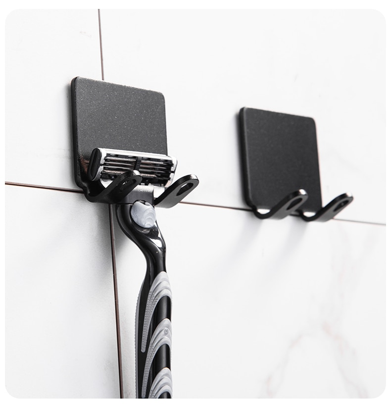 2 Pcs Punch Free Razor Holder Storage Hook Wall Men Shaving Shaver Shelf Bathroom Razor Rack Wall Bathroom Accessories