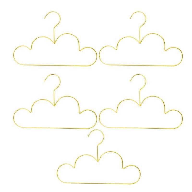 5pcs Hangers Non Slip Metal Toddlers Clothes Hanger Golden Kids Cloud Shape Coat Hanger Clothing Storage Organizer Rack