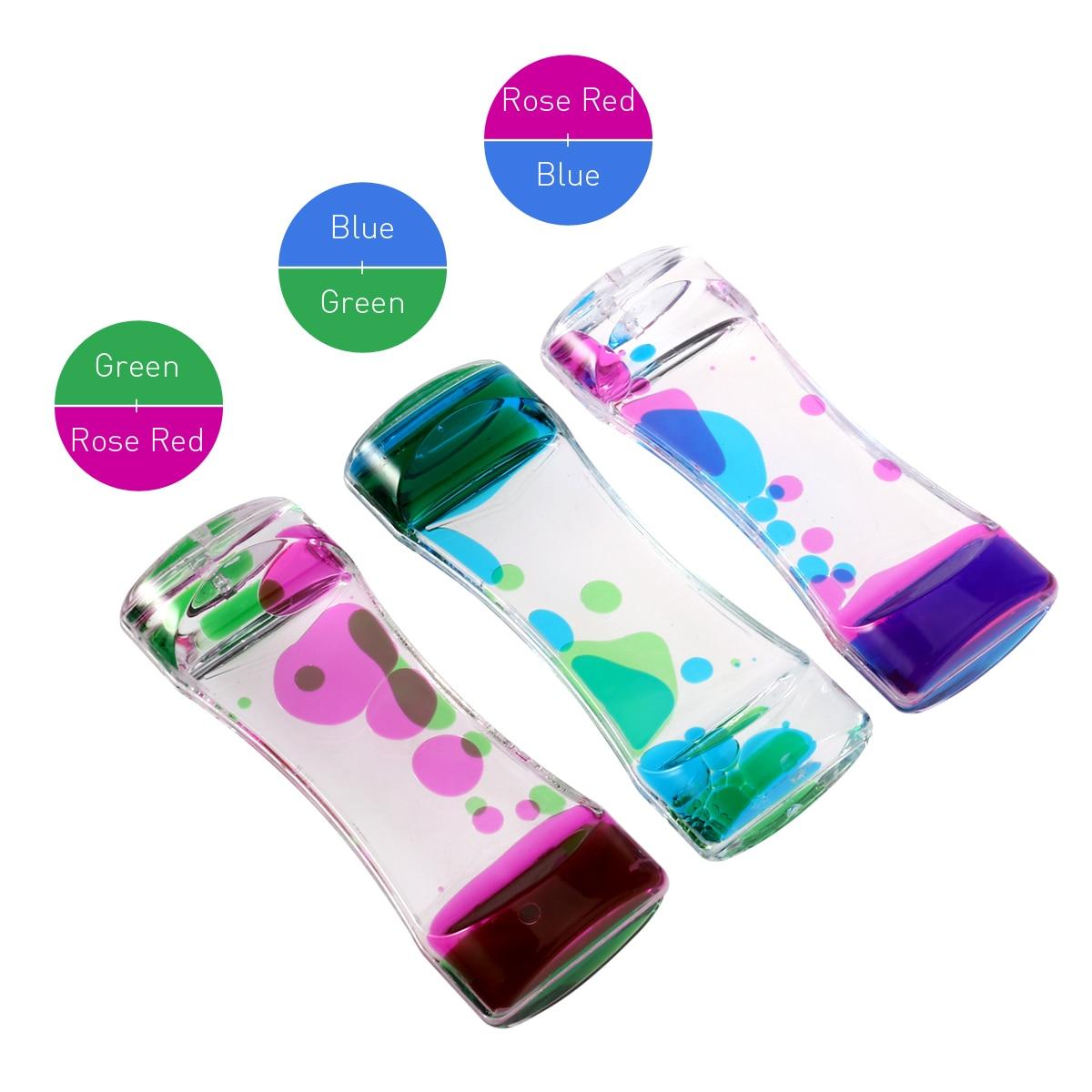 BESTOMZ 3pcs Double Colors Oil Hourglass Liquid Motion Bubble Timer with Pretty Waist Desk Decor Birthday Gift Children Toy