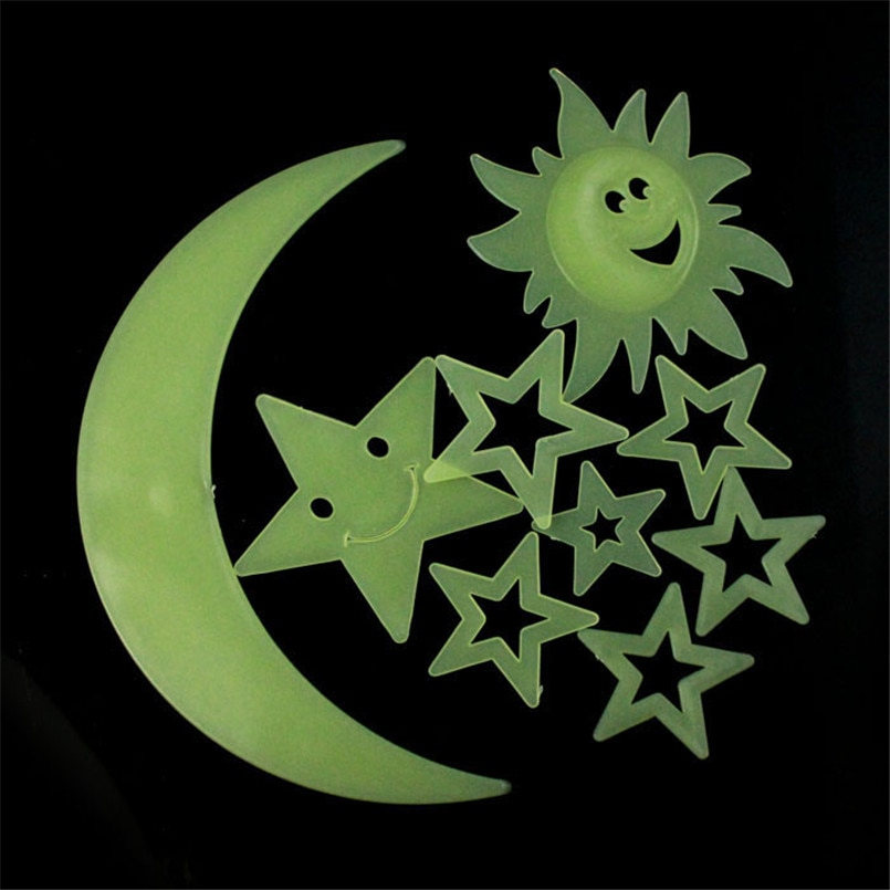 9PCS Stars Moon Sun Glow In The Dark Luminous Fluorescent Home Wall Stickers Bedroom 3D DIY Decor Vinyl home Decoration