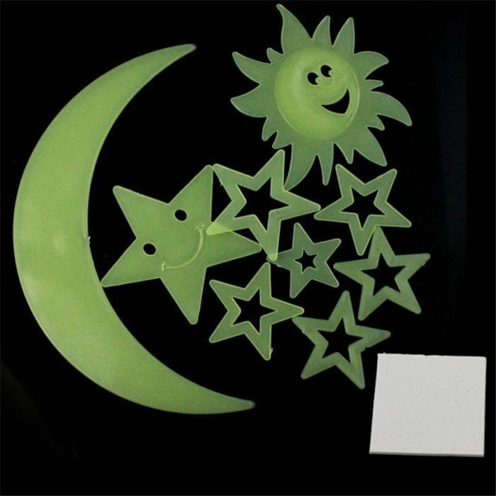 Glow in the Dark Moon and Stars Set (9pcs)