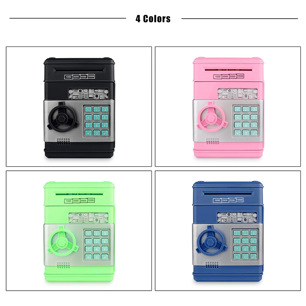 Electronic Piggy Bank ATM Password Money Box Cash Coins Saving Box ATM Bank Safe Box Auto Scroll Paper Banknote Gift for Kids