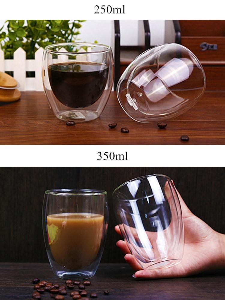 80/250/350/450ml Heat-resistant Double Wall Glass Cup Beer Coffee Cups Handmade Healthy Drink Mug Tea Mugs Transparent Drinkware