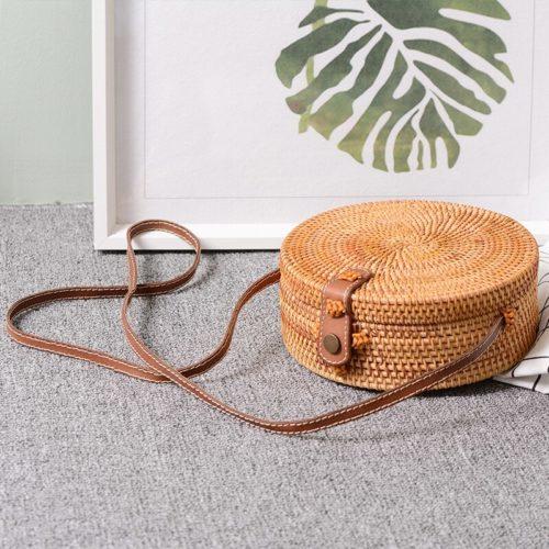 Rattan Sling Bag Handmade Beach Bag