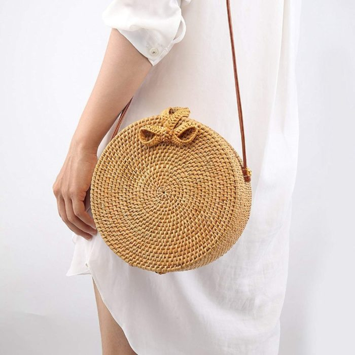Rattan Sling Bag Handmade Beach Bag