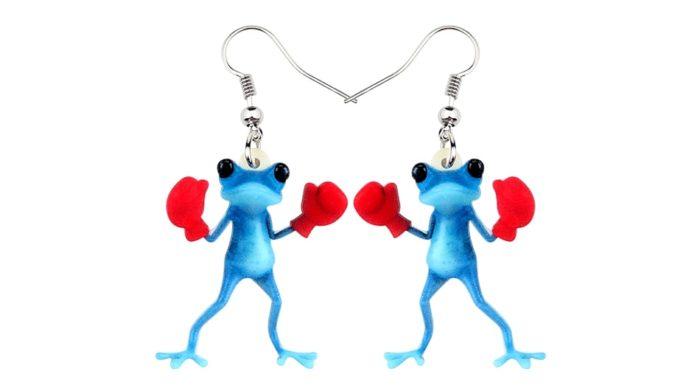 Frog Earrings Funny Boxer Dangle Earrings