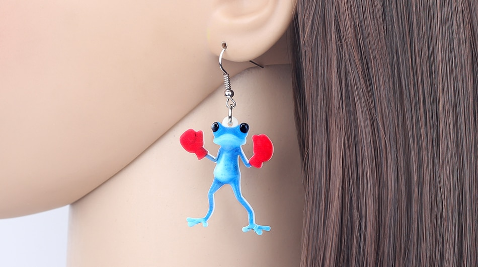 Bonsny Acrylic Boxer Blue Frog Earrings Drop Dangle Funny Cute Animal Jewelry For Women Girls Gift Brincos Accessories Party New