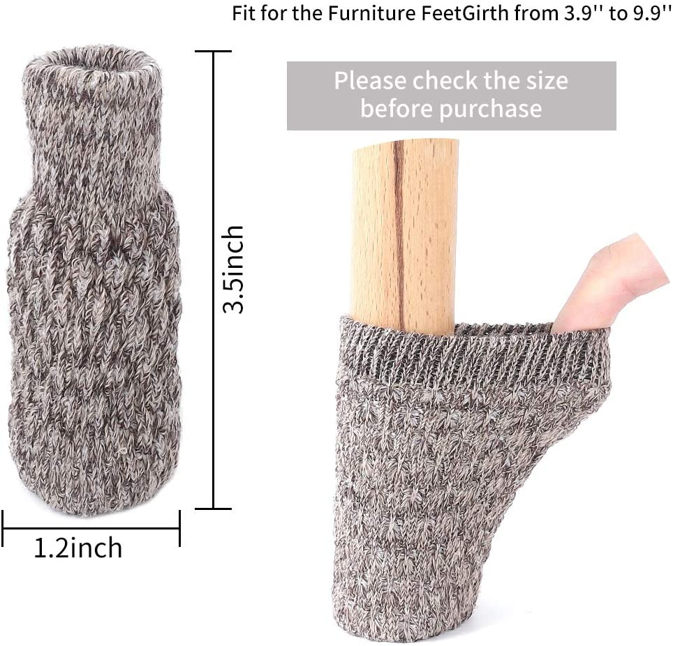 24PCS Chair Leg Socks Knitted Furniture Floor Protectors Pad Non Slip Anti-Noise Furniture Feet Caps Covers for Hardwood Floors