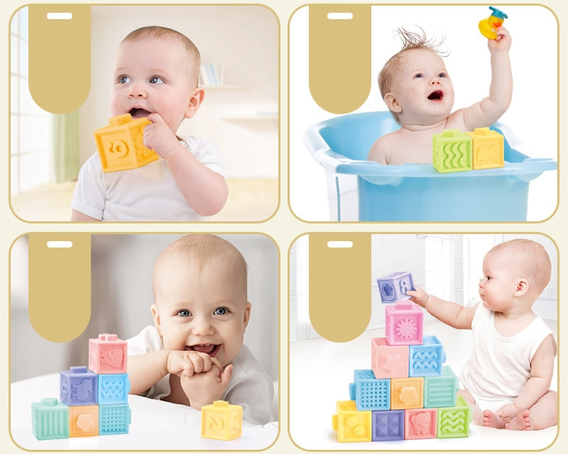 Baby Grasp Sensory Building Blocks Soft Ball Kid Bath Toy 3D Infants Rubber Teether Silicone Squeeze Toys for Toddler 1 2 3 Year