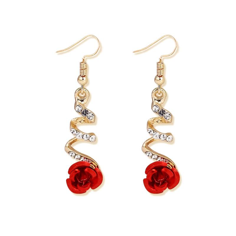 2019 Fashion Jewelry Ethnic Red Rose Drop Earrings Big Rhinestone Earrings Vintage For Women Rose Gold Spiral Dangle Earring