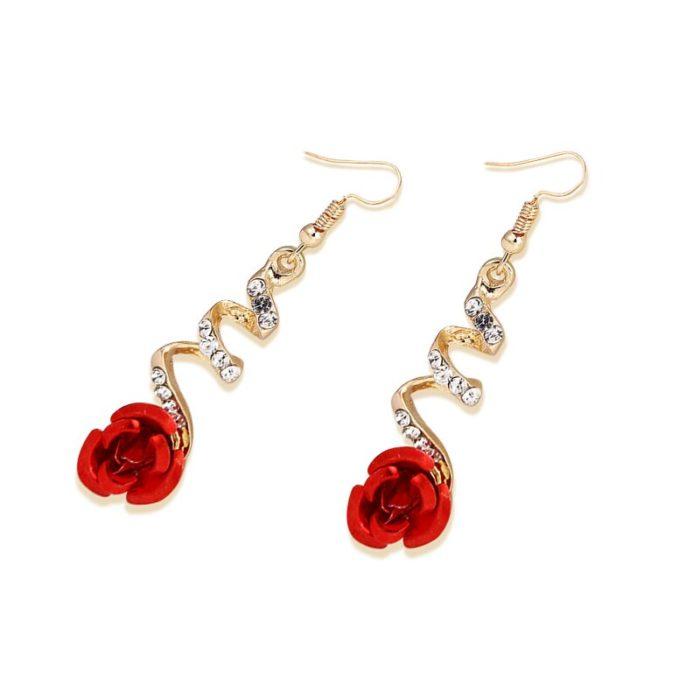 Rose Dangle Earrings with Rhinestones