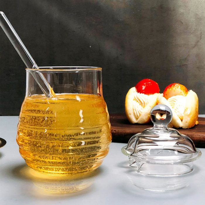 Glass Honey Jar with Glass Honey Dipper