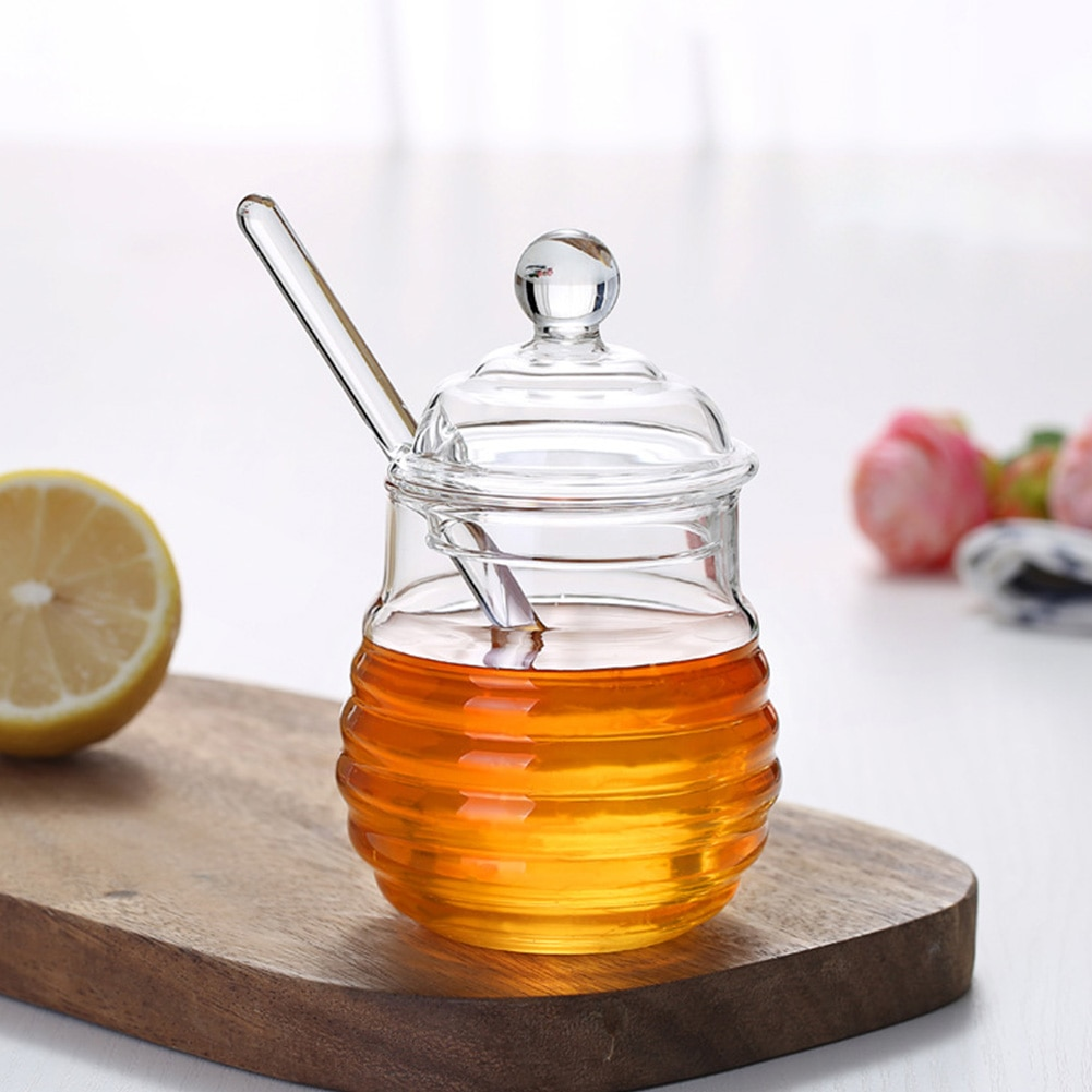 Glass Honey Jar High Borosilicate Glass Kitchen Jar Honey Pot With Dipper And Lid Storage Jar Container For Honey Syrup 300ML