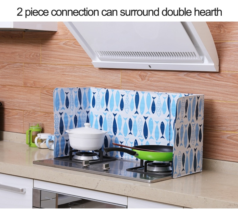Cartoon Splatter Shield Guard Oil Divider Splash Proof Baffle Tool Kitchen Cooking Frying Pan Oil Splash Screen Cover Gas Stove