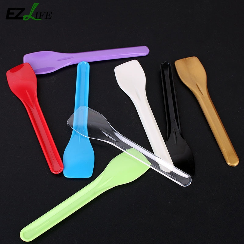 50pieces Disposable Plastic Ice Cream Spoon Spoon 8cm Mini Size Plastic Ice Spoon Cream KT0996 Flatware Cutlery Y1P9