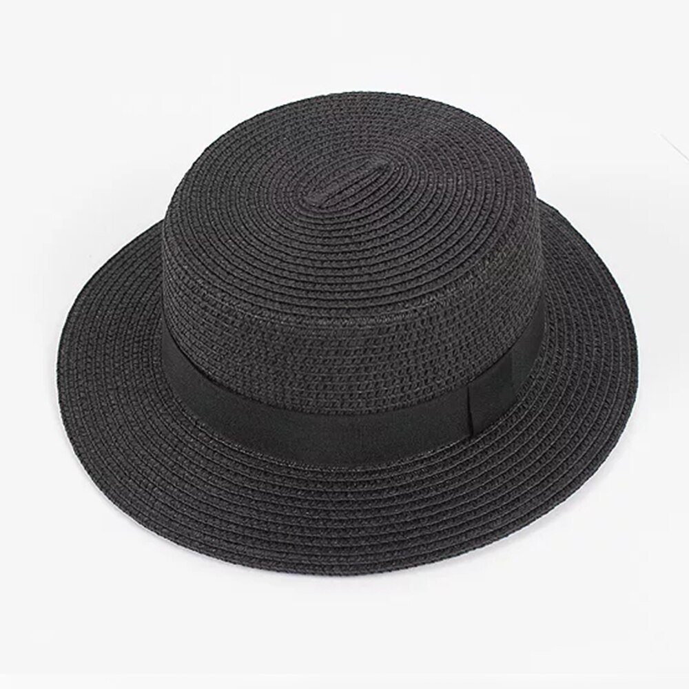 2019 new women's hat Ribbon Straw Sun Hat Breathable Large Brim Beach Summer Boater Beach Ribbon Round Flat Top Hat For Women