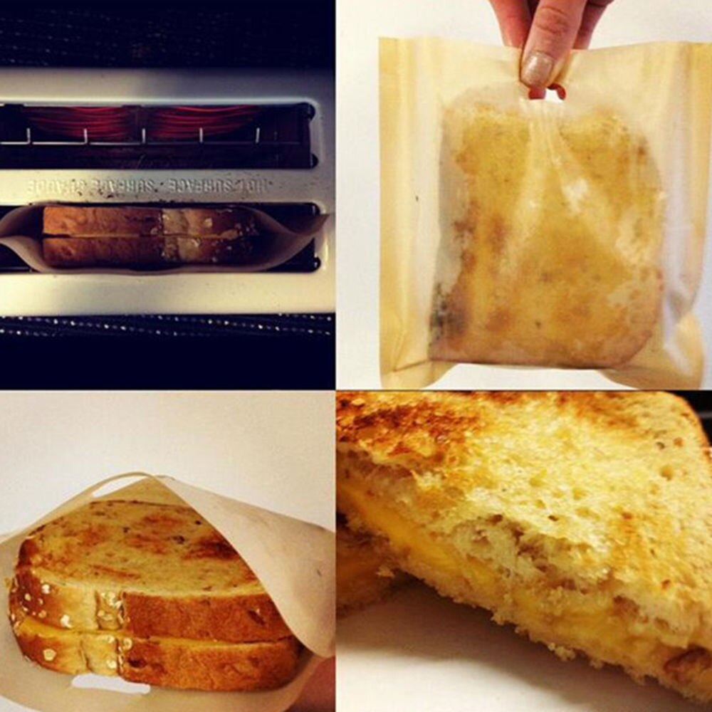 2pcs Toaster Bags for Grilled Cheese Sandwiches Made Easy Reusable Non-stick Baked Toast Bread Bags