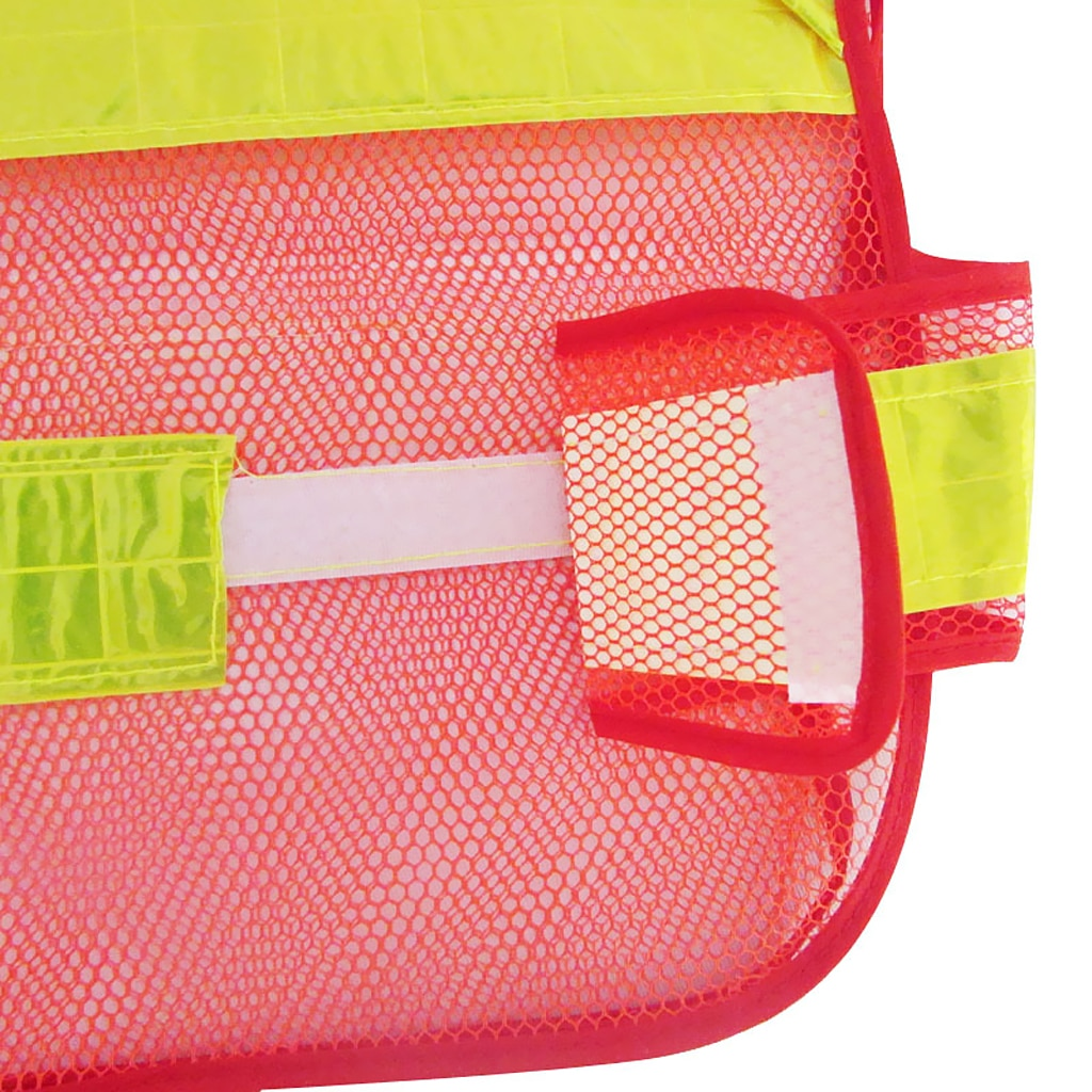 Adjustable Security Safety Vest Jacket Reflective Strips Outdoor Wear -Red
