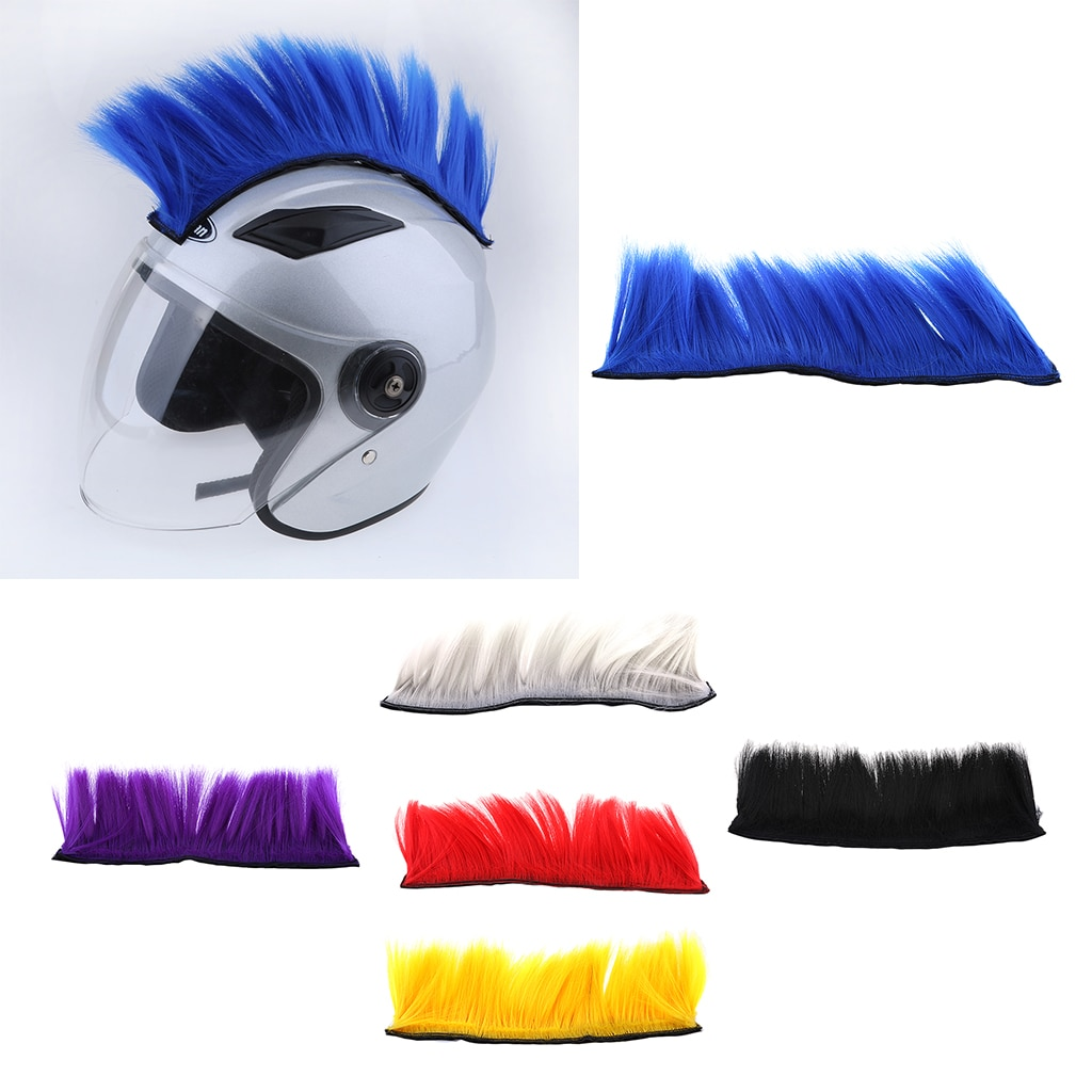 DIY Helmet Mohawk Hair Punk Hair Colorful Cockscomb Modeling Wig For Motorcycle Ski Snowboard Helmets Hair For Cosplay Party