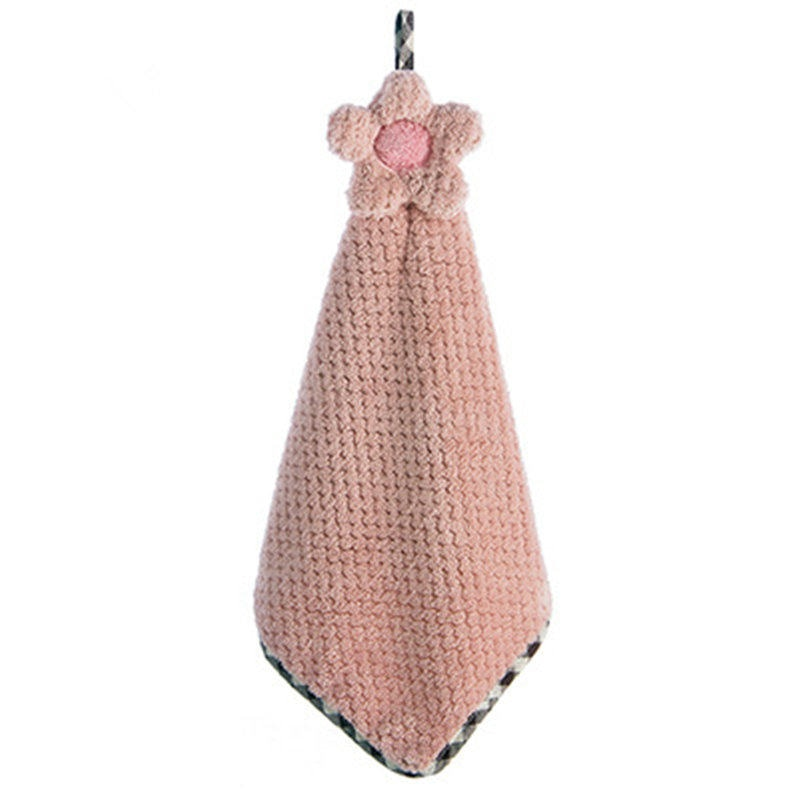30*28CM Coral Velvet Flower Hand Towels Bathroom Hanging Towel Lint-Free Cleaning Cloth Cleaner Kitchen Absorbent Dishcloth 1PC