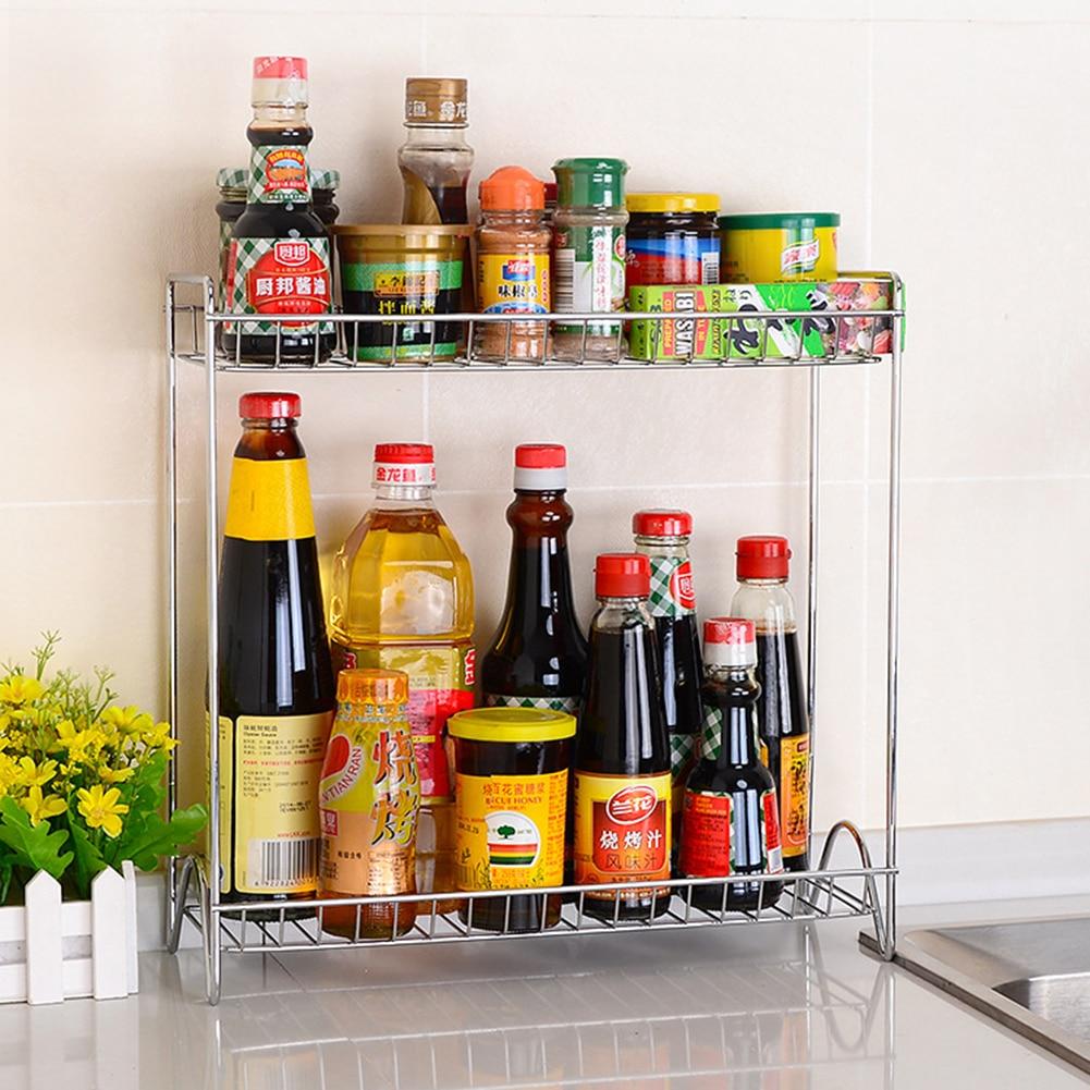 Kitchen Organizer Spice Jar Shelf Organizer 2 Tier Stainless Steel Spice Bottle Rack Holder Storage Kitchen Countertop Shelves