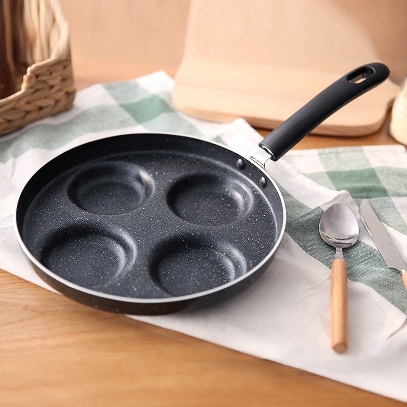 Four-Hole Omelet Pan For Eggs Ham Pan Cake Maker Frying Pans No Oil-Smoke Breakfast Grill Pan Cooking Pot Multifunction