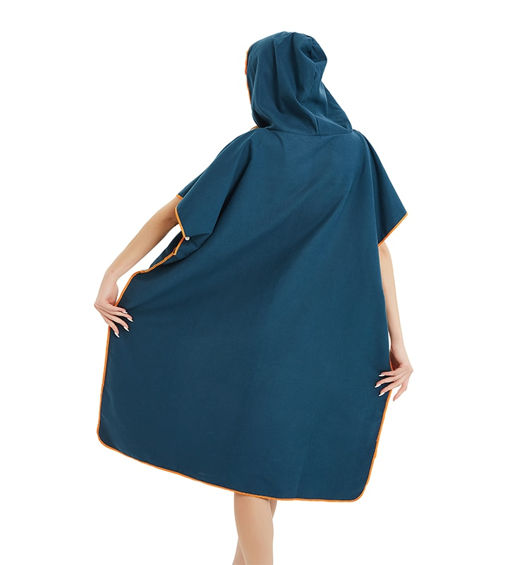 Microfiber Wetsuit Changing Robe with Hood, Quick Dry Hooded Towels for Swim, Beach Surf Poncho Compact & Lightweight