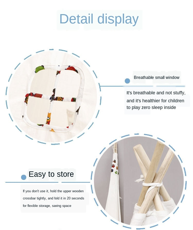 Baby Tents Portable Foldable Game Teepee Cartoon Cute Indian Children's Tent Outdoor Kids Play House Canvas Cotton Triangle Tipi
