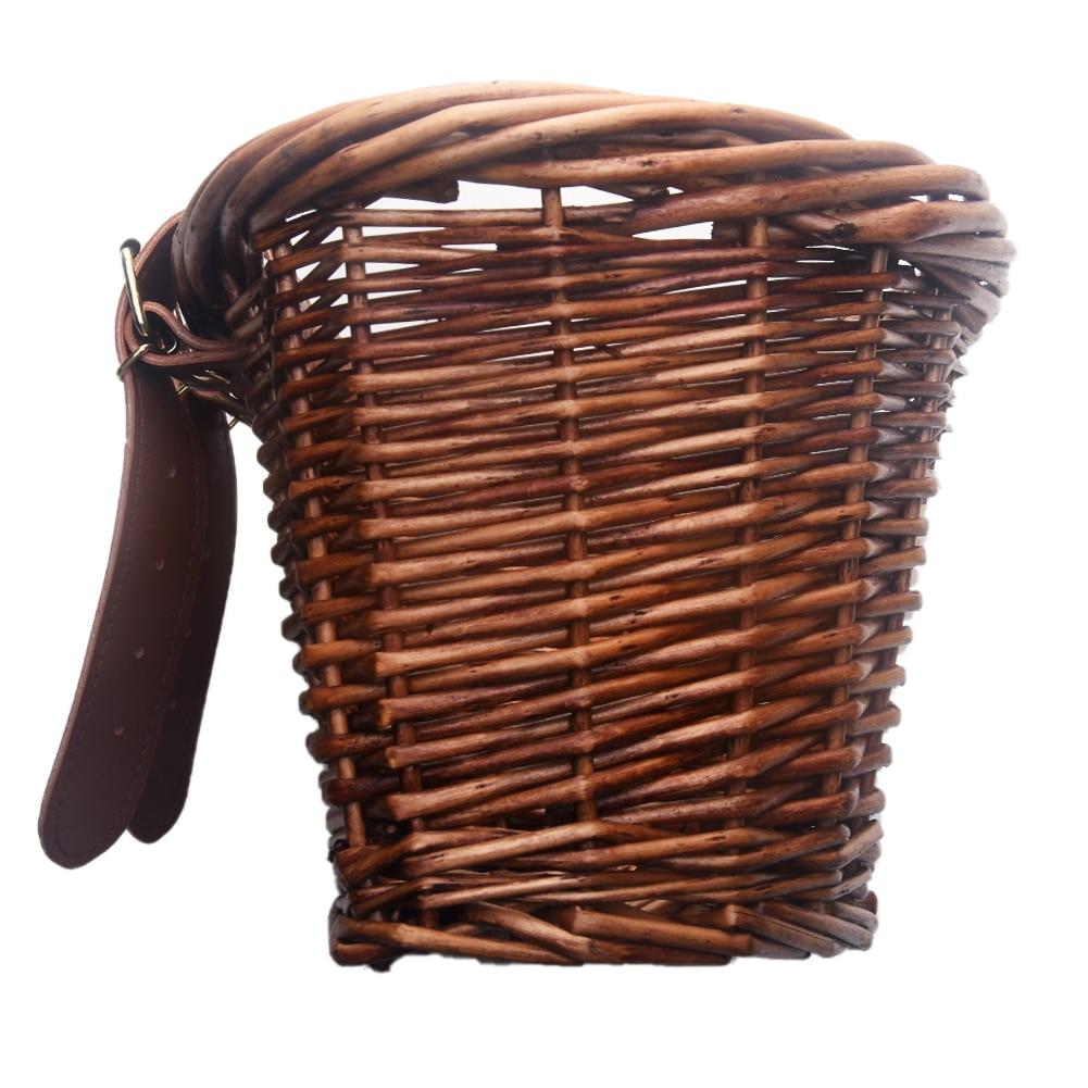 Children's Vintage Rattan Bicycle Baskets 16 Inch Bicycle Balance Car Baskets Bike Scooter Basket Kids Bike Cart Plastic Handbag